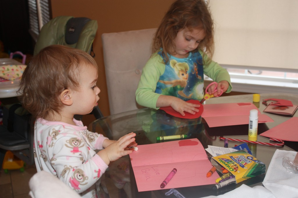 The girls working on their cards.