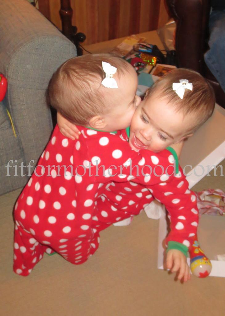 christmas 2014 - gram - twins hugging falling
